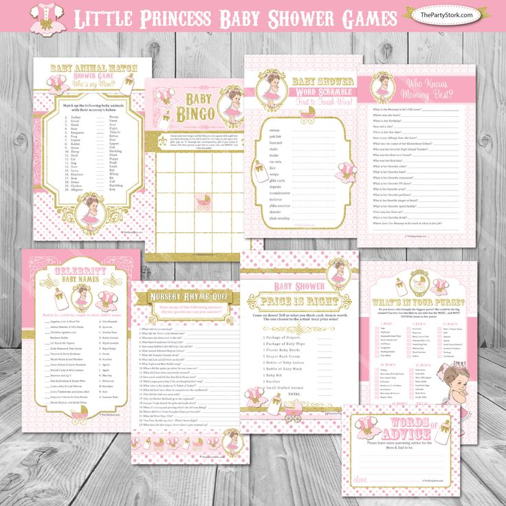 Little Princess Baby Shower Games Girl, Royal Baby Shower Girl Games, Pink  And Gold Theme, Baby Bingo Cards, Girl Baby Shower Games Princess