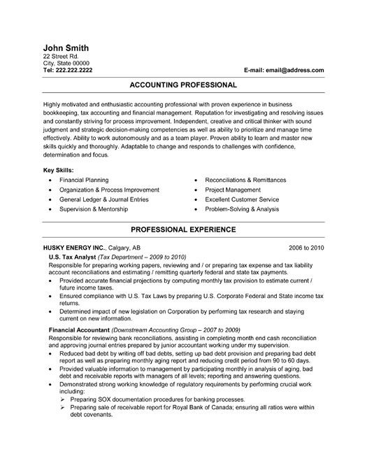 Best Best Accounting Resume Templates  Samples Images On