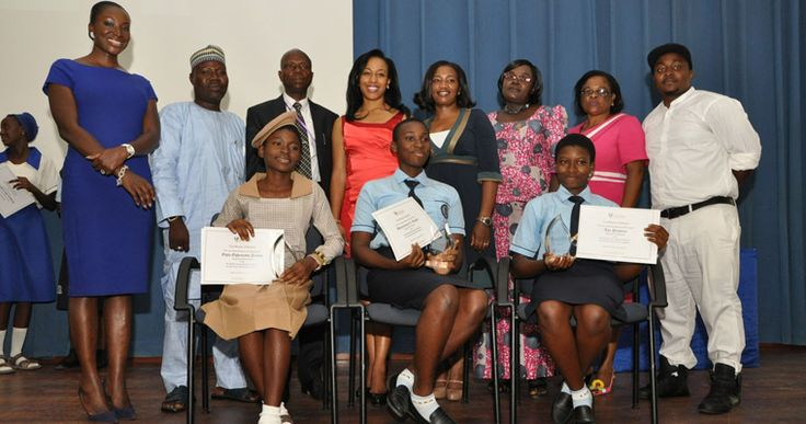 Judges and Speakers with the winners of the Senior Secondary School Category prizes