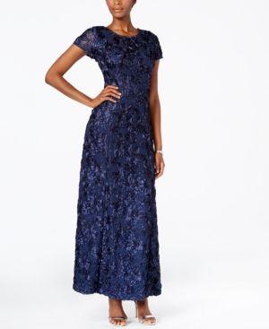 Alex Evenings Rosette A-Line Gown - Blue 18