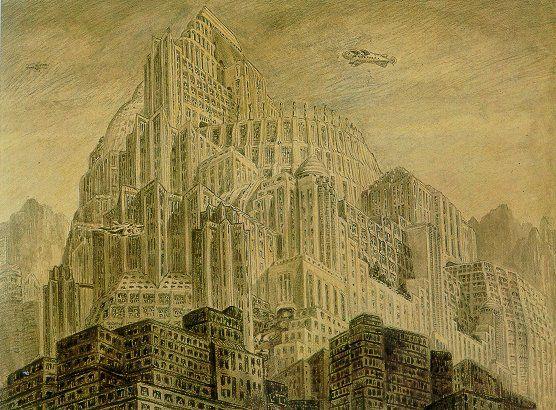 Metropolis 1927 - Film Archive - Erich Kettelhut Drawings 1925-6.  City of the Sons, coloured pencil and grey wash on paper, 30.7 x 40.2 cm. (c) Filmmuseum Berlin - Deutsche Kinemathek