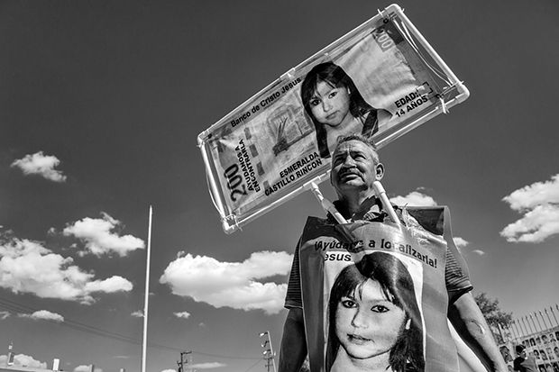 Jose Luis Castillo is arguably the most vocal and controversial activist in the Juarez anti-femicide movement. He can be seen all over the city wearing a set of homemade banners with the image of his daughter Esmeralda Castillo Rincon. Esmeralda disappeared in 2009 at the age of 14, just before her quinceañera. Ciudad Juarez, Mexico. …
