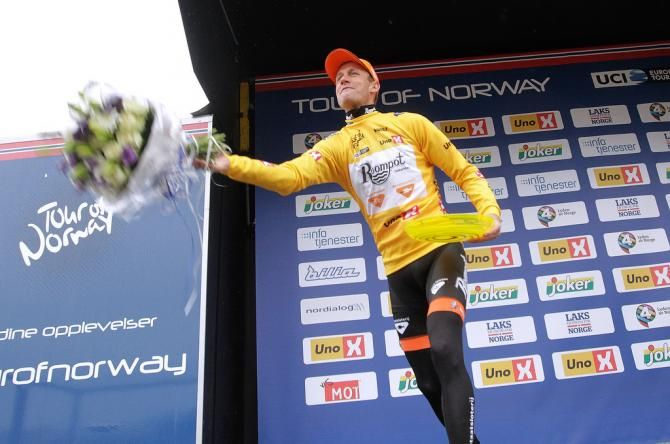 Overall winner - Tour of Norway (photo: Pieter Weening (Roompot Oranje Peloton) throws the bouquet)