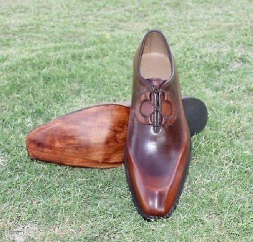 Handmade Men Antique Brown Formal Shoes, Men Brown Dress Shoes, Men Shoes - Dress/Formal