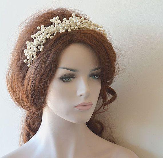 Bridal Pearl Tiara, Wedding Pearl Tiaras, Wedding Hair Accessories,  Bridal Headpiece,  Bridal Hair Accessory, Hair Accessories