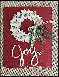 Make It Monday - Joy Wreath Christmas Card - download the FREE tutorial at www.SimplySimpleStamping.com - look for the November 21, 2016 blog post!