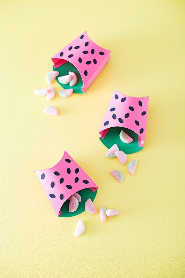 Save these watermelon party DIYS to make pieces like these watermelon fry boxes.