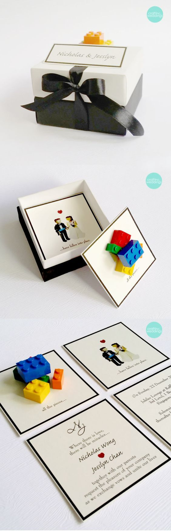 Lego Invite in the Box - Lego Themed Wedding Invitations and Other Decoration Ideas - EverAfterGuide
