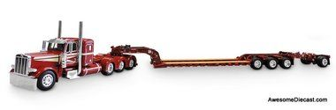 "DCP 1:64 Peterbilt 389 36"" Sleeper Tri-Axle Tractor w/ Fontaine Lowboy Trailer and Stinger: Lindamood"