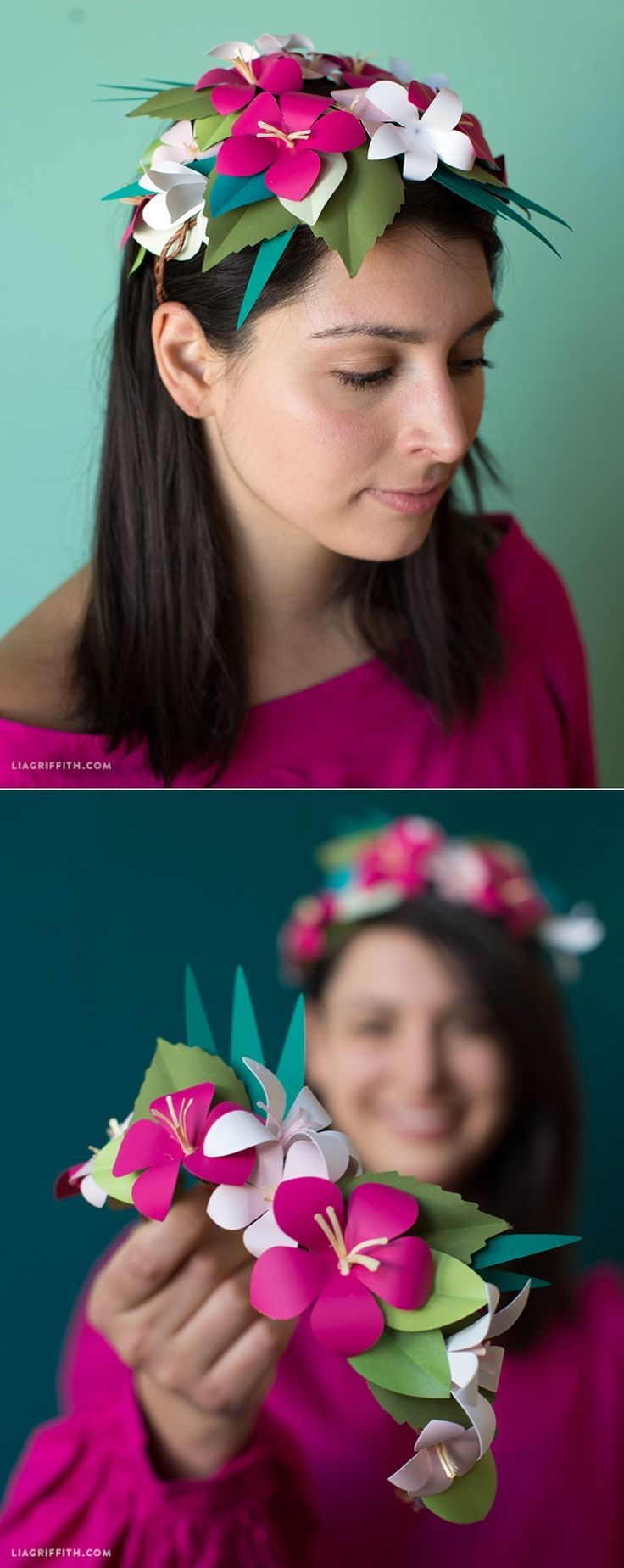Tropical #PaperFlower Crown @PaperPapers You can make this! Pattern and Tutorial www.LiaGriffith.com