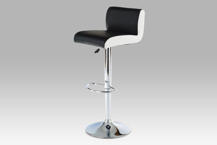 AUB-355 BK Barová židle, chrom / koženka černá s bílými boky