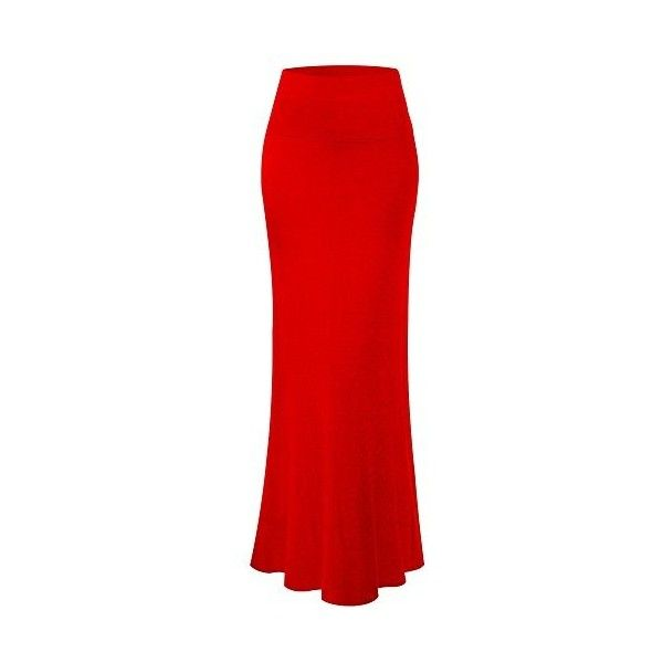 MsBasic Women's Modal Solid Flared Super Soft Fold Over Maxi Skirt:... ($44) ❤ liked on Polyvore featuring skirts, red skirt, red flared skirt, ankle length skirt, long skirts and red flare skirt
