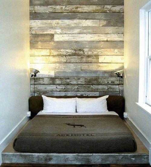 slaapkamer met steigerhout behang - Google zoeken