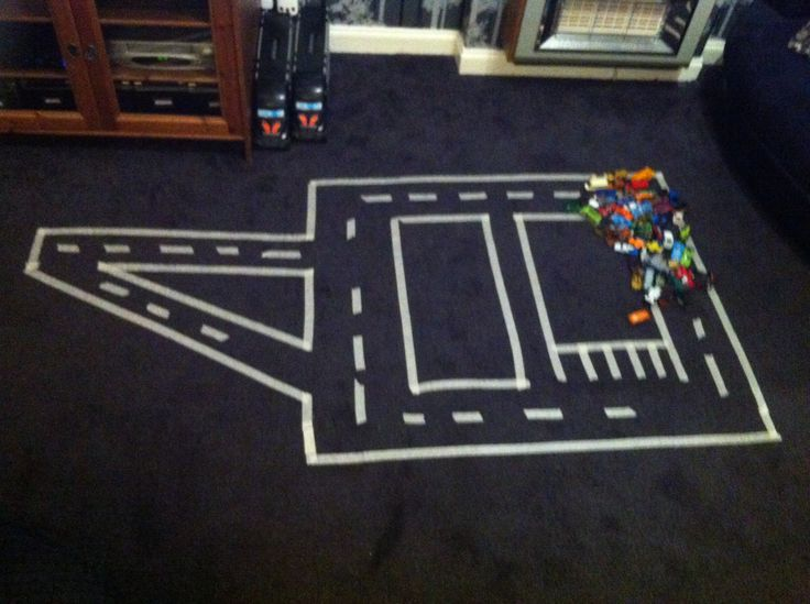 Tip : use paper tape to make a road for kids you cars or hop scotch in the house .