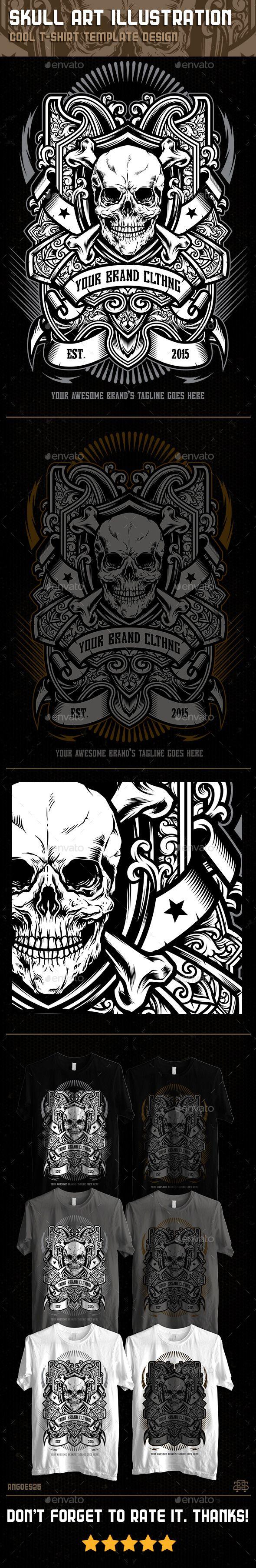 Skull Art Illustration Tshirt Template Design. Download: http://graphicriver.net/item/skull-art-illustration-tshirt-template-design/11939395?ref=ksioks