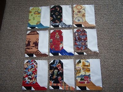 Nine 8 x 10 Cowboy Boot Quilt Top Pieced Block Western Cowgirl Made in Utah | eBay