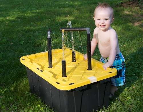 Water Table for the Kids using a storage tote
