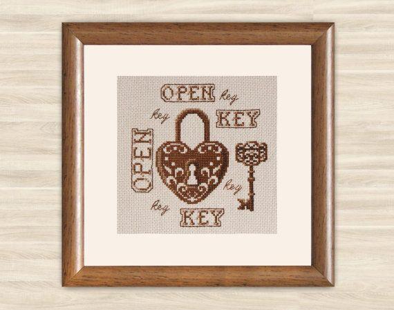 Lock and keys Cross Stitch Pattern PDF Gift home by TimeForStitch