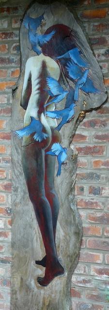 Artist: Kathryn Harmer Fox Title: Girl with Blue Birds Medium: Acrylic on reclaimed slice of yellow wood.
