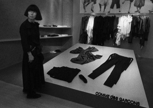 rei kawakubo at the opening of her comme des garçons shop in henri bendel, 1983