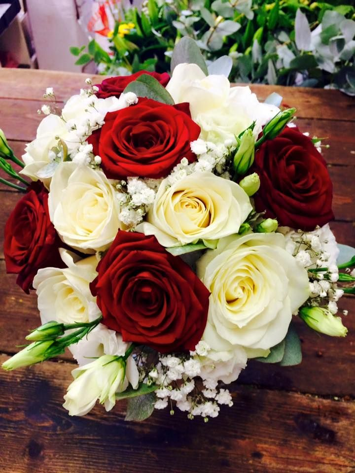 Beautiful Red Rose and White Rose Bridal Bouquet