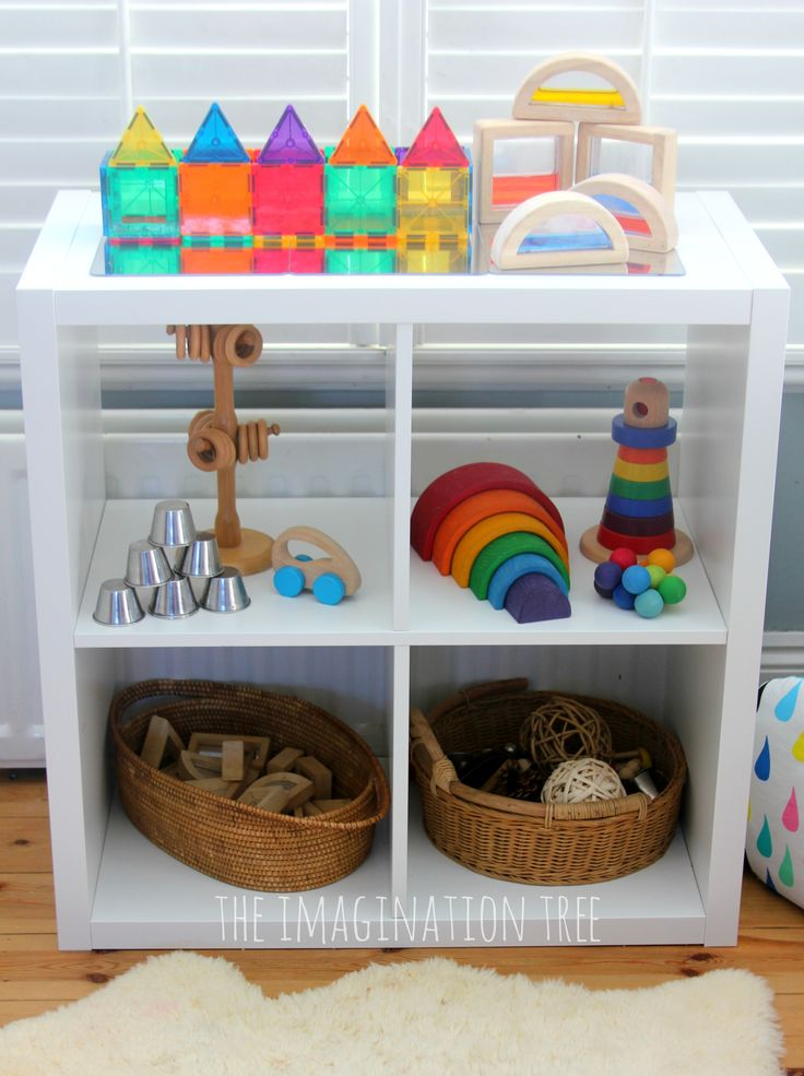Baby and toddler play shelves. I like the openness and the bright color. It makes the toys stand out