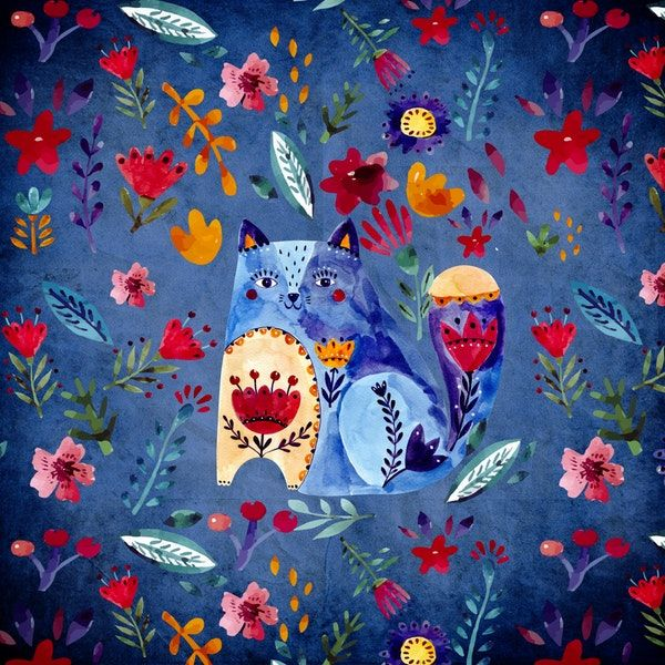 Doodle Cat and Flowers Wall Mural / Wallpaper Children in