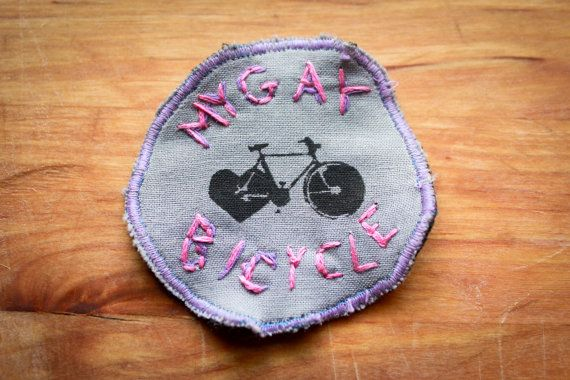 MY GAY BICYCLE Badge patch, inspired by My Gay Banjo. Printed on recycled materials with black fabric ink and heat set. Hand done embroidery.