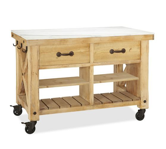 Hamilton reclaimed wood marble top kitchen island for Barn style kitchen table
