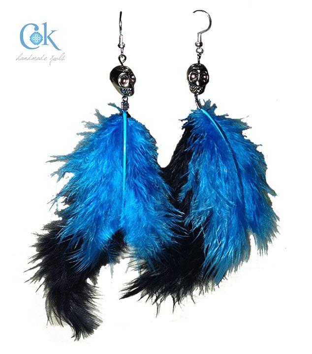 Blue & black skull earrings (282)