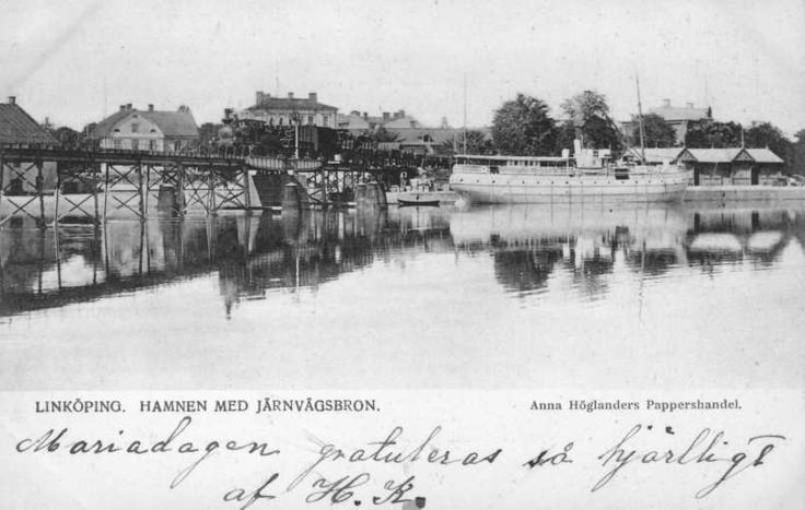 Linköpings hamn med Järnvägsbron.