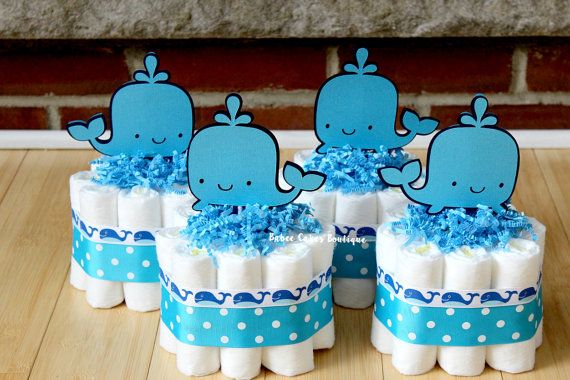 SET OF 4  Mini Whale Diaper Cakes Under the by BabeeCakesBoutique