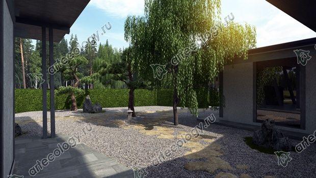Вид на японский сад из окна дома