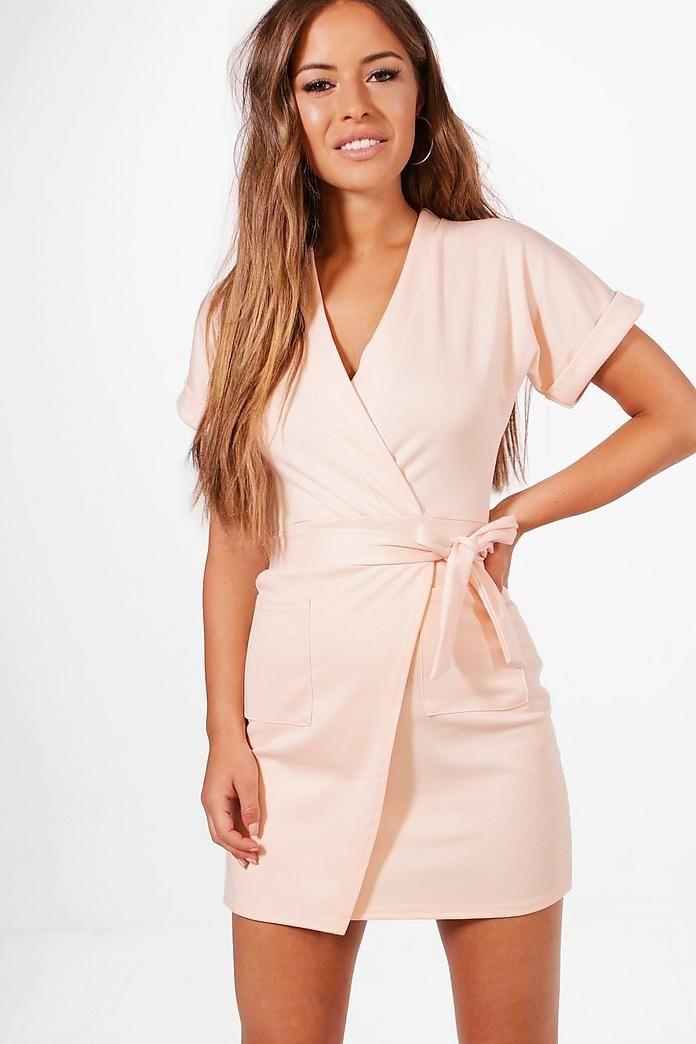 Petite Obie Tie Wrap Dress Boohoo Australia Fashion Wrap Dress Dresses