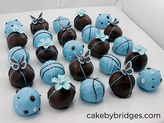 • Blue and brown butterfly and flower cake balls