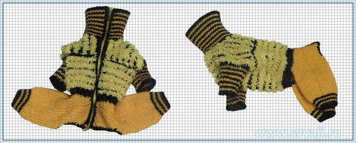 Вязаный комбинезон, свитер для собаки, чихуахуа, йорк, схема вязания комбинезона для маленькой
