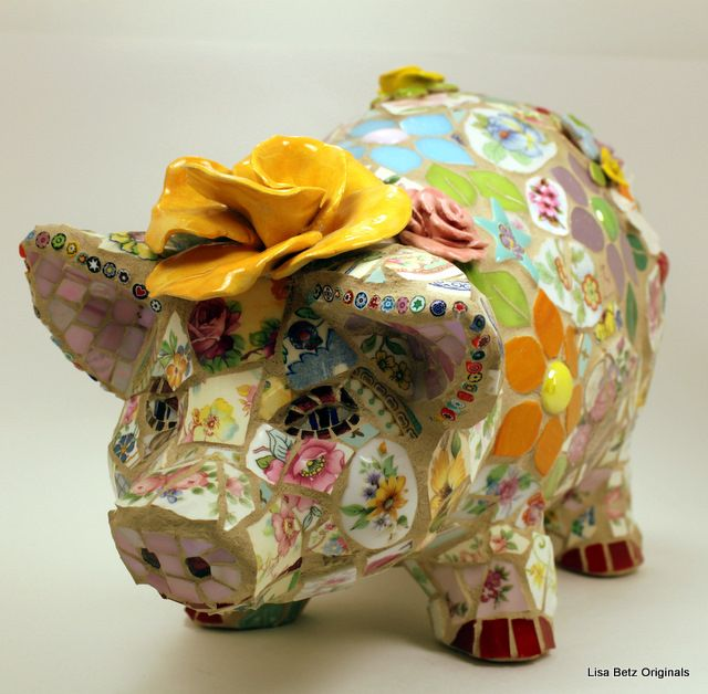 I want to do this to Jess's old piggy bank & put it in the garden.