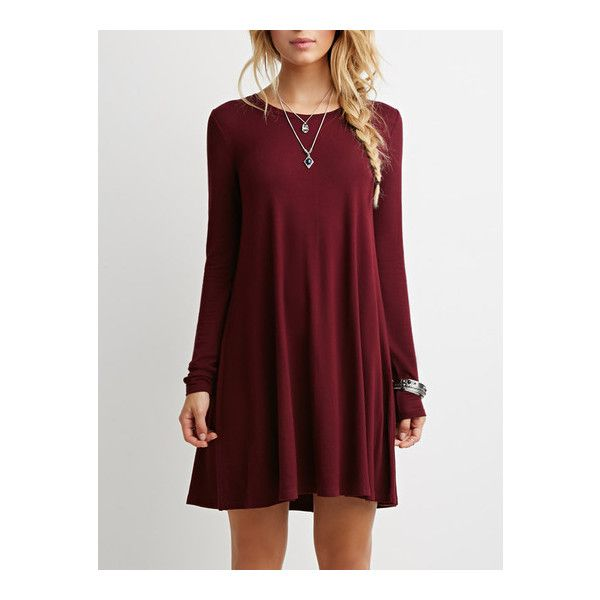 SheIn(sheinside) Wine Red Oxblood Long Sleeve Casual Babydoll Dress (230 ZAR) ❤ liked on Polyvore featuring dresses, burgundy, baby doll dress, short dresses, red dress, burgundy dress and burgundy long sleeve dress