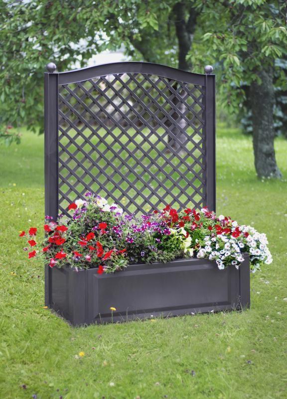 Bac a plantes avec claustra,PORT OFFERT,bac plante pvc,pot de fleurs,Treillis,en résine