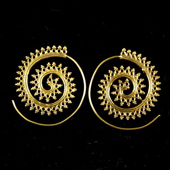 Spiral earrings boho earrings ethnic earrings by DhanaJewellery