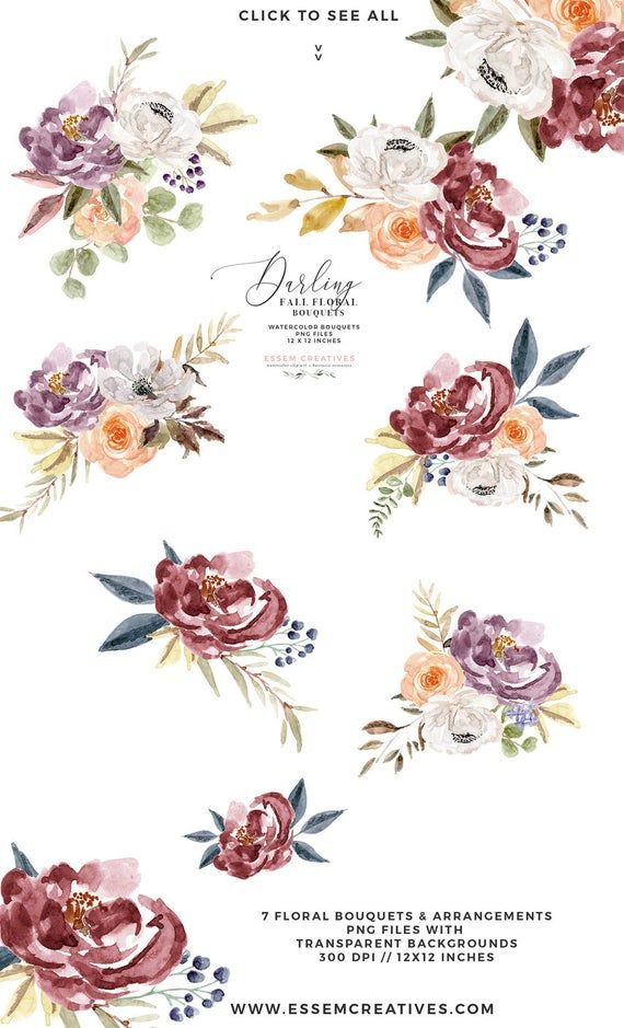 Burgundy Navy Watercolor Floral Clipart Boho Floral Bouquet