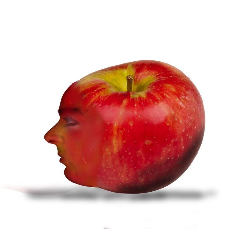 rode wagen in een appel