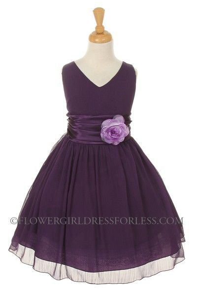 PURPLE- Crepe Dress with Charmeuse Waist Sash - Purple - Flower Girl Dress For Less $50
