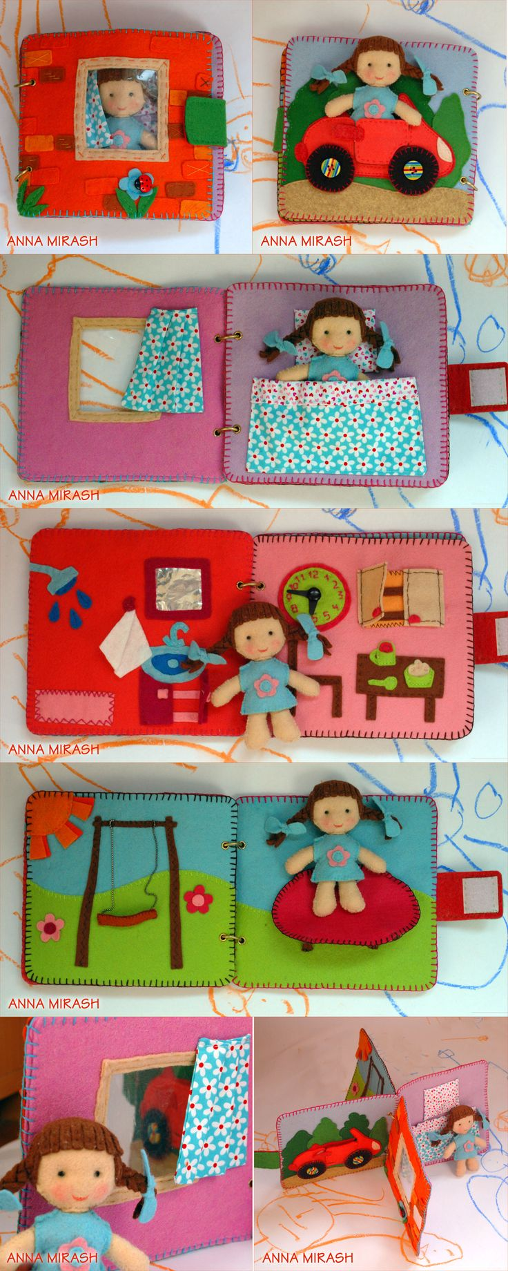 anna mirash crafts - little girl felt home book