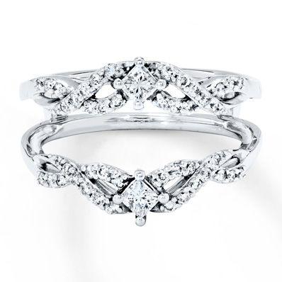 Diamond Enhancer Ring 1/2 ct tw Round/Princess 14K White Gold