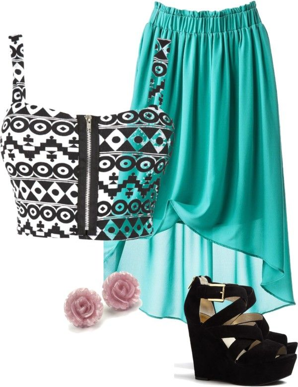"""""""High Low Skirt and Crop Top"""" by caitlinkennedy on Polyvore"""