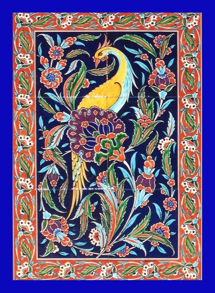 Bird of Paradise in the Tree of Life - Iznik Design Ceramic Panel | Cini Pano | Pinterest | Ceramics, Tiles and Art