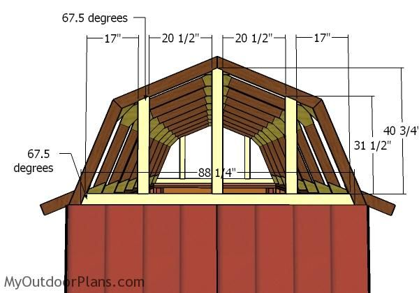 8x16 Gambrel Roof Plans Myoutdoorplans Free Woodworking Plans And Projects Diy Shed Wooden Playhouse Pergola B Gambrel Roof Shed Building Plans Gambrel