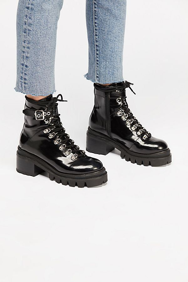 Boots, Black boots, Leather lace up boots