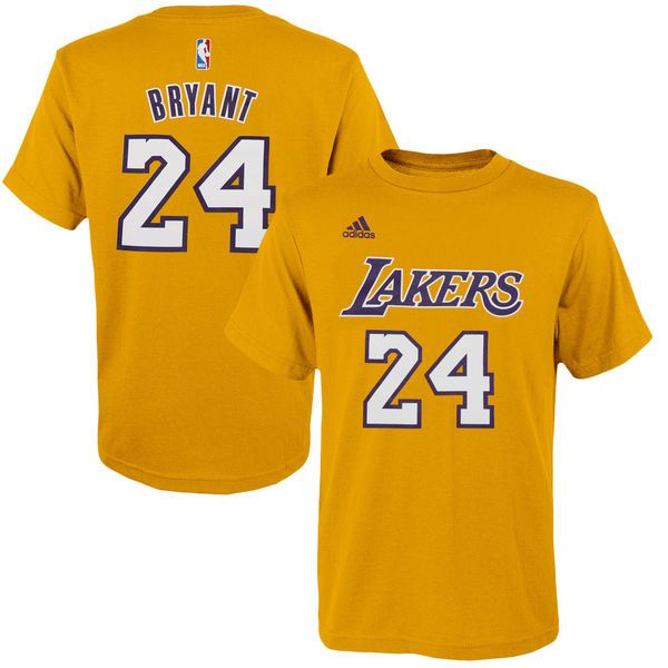 Kobe Bryant Los Angeles Lakers adidas Youth Game Time Flat Name & Number T-Shirt - Gold - $21.99